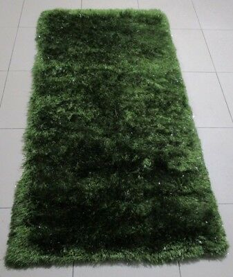 New Plain Green Soft Shag Shaggy Heatset Floor Hallway Runner Rug 80X150Cm