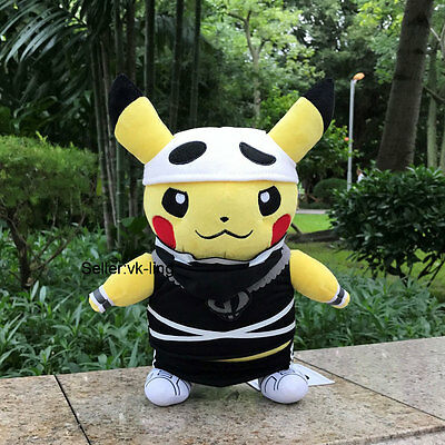 "Pokemon Center Go Plush Toy Alola Pikachu Team Skull 12"" Stuffed Animal Doll"