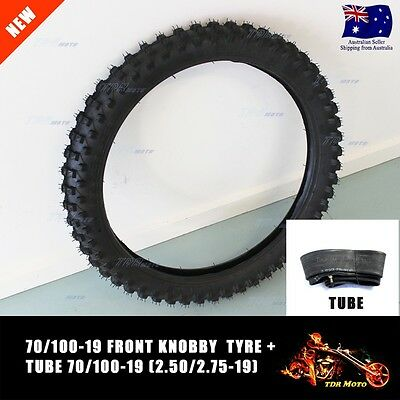 70/100-19 19 inch Knobby Front Tyre Tire & Tube for MX Trail Pit Dirt CRF Bike
