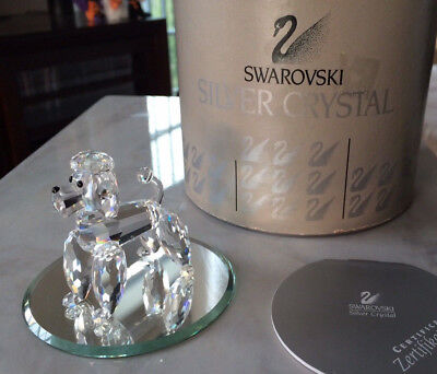 Swarovski Silver Crystal STANDING POODLE Mint Condition w BOX and MIRROR