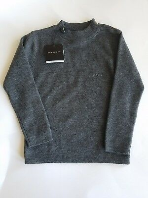 Youth Girl or Boy Burberry Size 3Y Grey Long Sleeve Wool Sweater