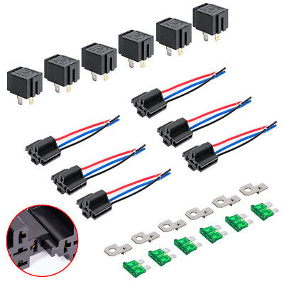 12V DC 40/30 Amp 4-Pin Automotive Relay Harness Set Switch Fuse 6 pack