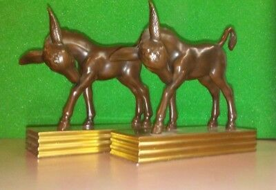 Donkey Bronze BOOK ENDS JB Jennings Bros. Art Statue c.1930's Equine Burro Pair