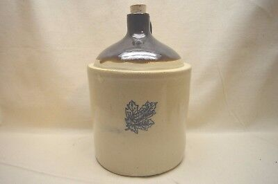 Vintage Western Stoneware Moonshine Jug Crock w/ Maple Leaf Emblem One Gallon