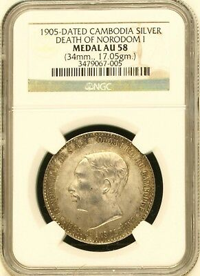 1905 Dated Cambodia Silvermedal Ngc Au58 Death Of Norodom I