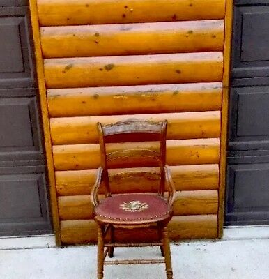 NEEDLEPOINT RARE Antique Vintage Wooden Chair with Round Maroon Needlepoint Seat