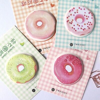 Sticky Notes Donuts Post Its Memo Pad Set of 4 Designs Doughnuts