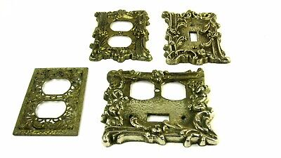 Lot Of Four Vintage Wall Power Outlet Light Switch / Receptacle Brass Cover