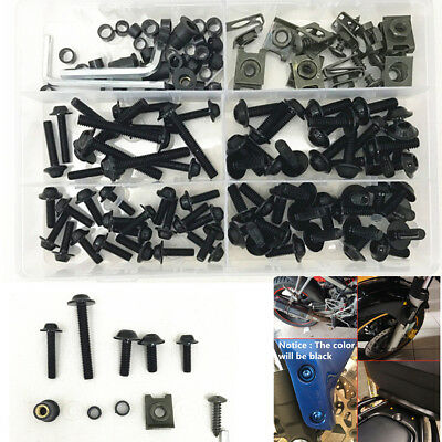 Motorcycle Body Faring Work Bolt Kit Fender Screws Clips M6 M5 Universal 177Pcs