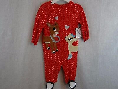 New Infant Girls Rudolph The Red Nosed Reindeer 1PC Sleeper Pajama 3M  Christmas