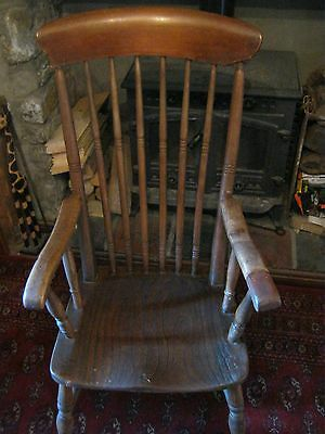 antique early 19th c fireside high back windsor chair pre victorian