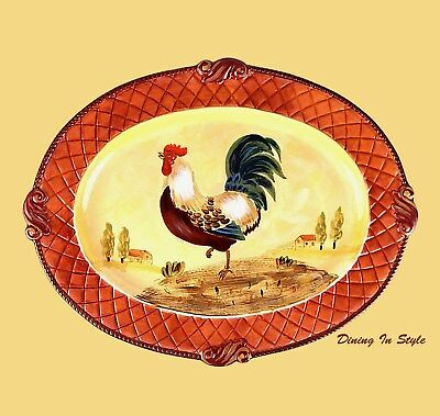 """20"""" Oval Platter, NEAR MINT! Certified International, Tuscan Rooster, Gladding"""