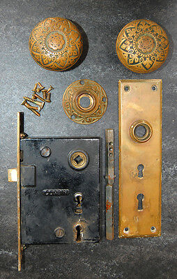 Corbin Bronze Door Knobs Plate & Lock Set Antique Ornate Victorian