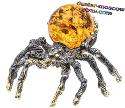 Bronze Solid Brass Baltic Amber Figurine Shaggy Spider Miniature Statuette