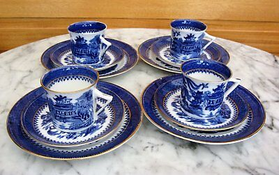 Foley early 1900's Willow Pattern Flow Blue Coffee Cup/Saucers/Plates x 4