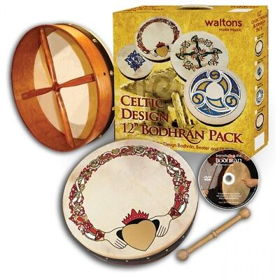 "Irish 12"" Celtic Bodhran Beater DVD Pack Drum Waltons Designs Gift Pack"