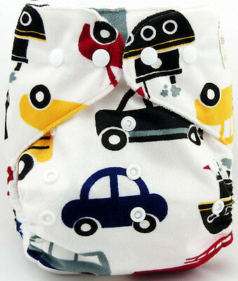 1xCute Infant Printed Cloth Diaper Cover Reusable Nappy Covers C411 Cars 02