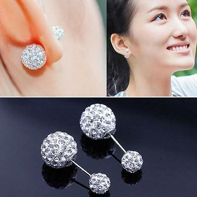 Lady 925 sterling Silver plated Double Crystal Ball Ear stud Earrings Jewelry UK