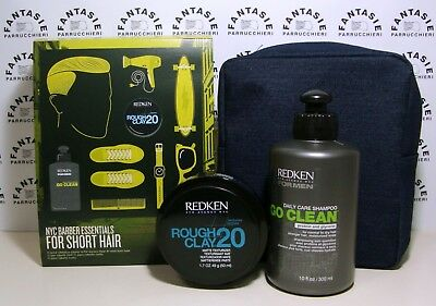 REDKEN KIT FOR SHORT HAIR SHAMPOO 300ml + ROUGH CLAY20 50ml + BEAUTY JEANS UOMO