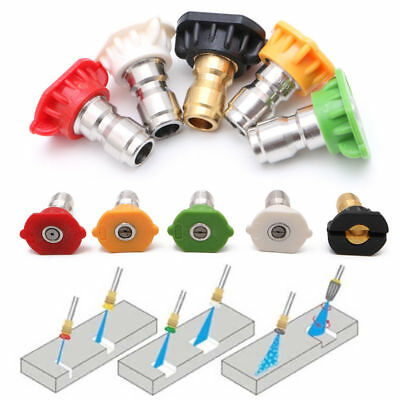 Hot 5Pcs Pressure Washer Nozzles Spray Set Variety Degrees Quick Connect