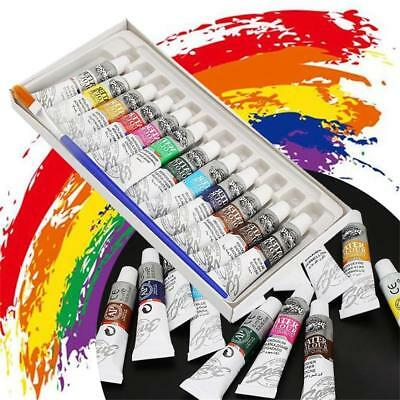 12 Color Acrylic Paint Set 6ml Tubes Artist Draw Painting Rainbow Pigment
