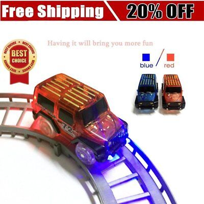 LED Light Up Cars For Magic Tracks Electronics Car Toys With Flashing Lights F5