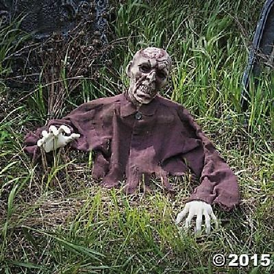 HOT Scary Animated Halloween Props Life Size Brain Zombie Ground Breaker Outdoor