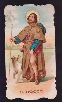 Antico Santino Fustellato San Rocco Image Pieuse Andachtsbild Holy Card