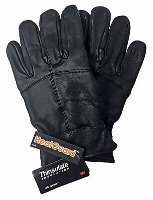 Mens 3M Thinsulate 40 gram Thermal Insulated Fleece Lined Winter Leather Gloves