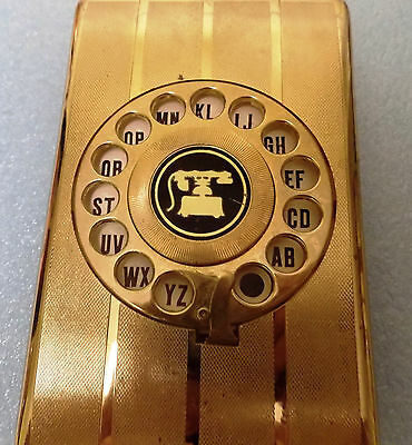Rotary Telephone Index Card Made in Hong Kong Vintage Gold Tone Dial