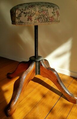 Antique Vintage Industrial Drafting Draftsman Piano Stool  Wood Iron Adjust