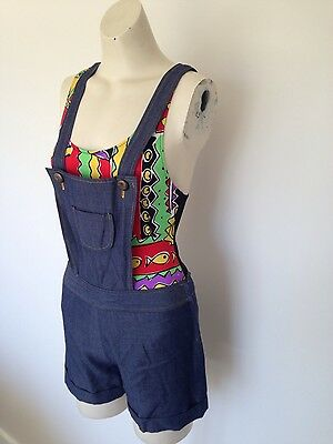 Womens vintage soft denim playsuit romper XS