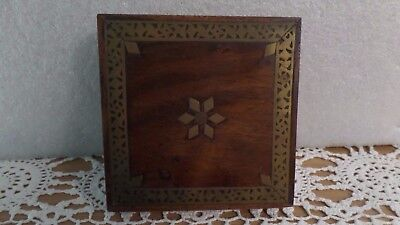 Brass Inlaid Wooden Hinged Box