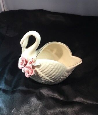 Antique 50/60's Swan With Gold Accents And Flowers, Candy Dish Or Planter