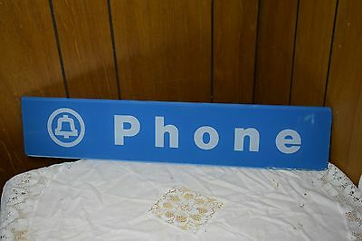 Vintage Bell Telephone Phone Booth Sign Pay Phone Glass 22.25 inchesrs are worn