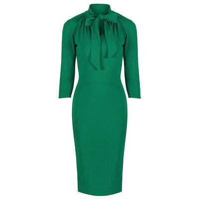 dc3e74a32 Emerald Green Pencil Wiggle Bodycon Glamour 3/4 Sleeve Tie 40s Prom Party  Dress