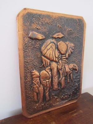 Vintage Elephants Hammered COPPER ART Decorative Wall Hanging Home Office Décor