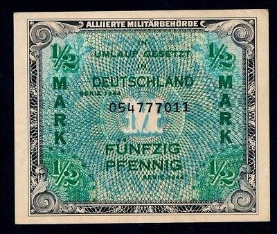 GERMANY ALLIED OCCUPATION WWII 1944 1/2 Mark ABOUT UNCIRCULATED