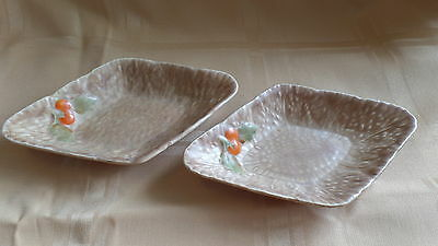 Pair Matching Crown Devon Small Dishes with fruit design