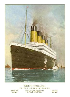 White Star Line RMS Olympic -Post Titanic  Poster 12 x 18