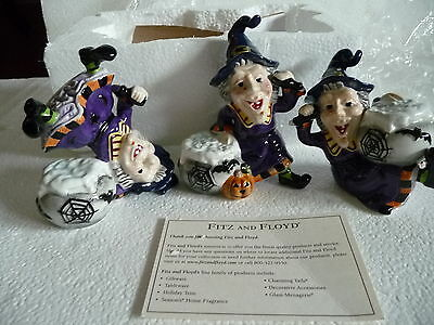 """FITZ & FLOYD """"WITCHES' BREW"""" Halloween set of 3 TUMBLERS RARE 2007 New in Box"""