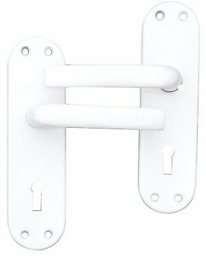 1 x Pair of Door Handles Aluminium White Oval With Keyhole, Spindle Screws (518)