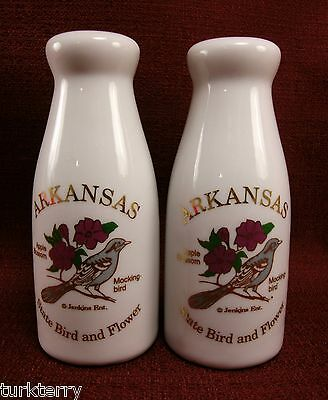 Arkansas State Bird & Flower Souvenir Milk Bottle Shape Salt & Pepper Shaker Set