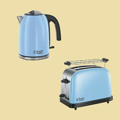 Russell Hobbs Colours Plus+ Heavenly Blue - Wasserkocher 20417 + Toaster 23335