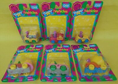 1993 Child Dimension set of 6 Diecast Barney & Friends Baby Bop Vehicles NEW A+