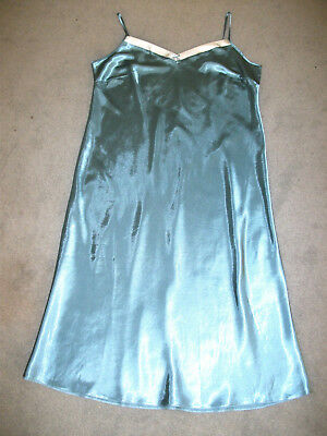 Long Green Silky Liquid Satin Nightie Nightdress Size 20 Marks And Spencers