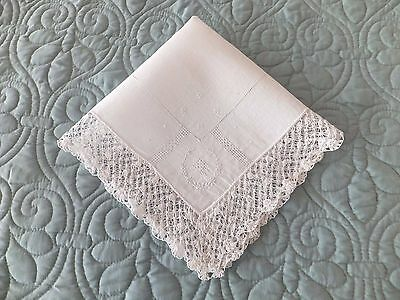 Vintage Embroidered White Linen Wedding Handkerchief With Crocheted Edging