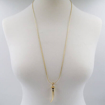Simple Animal Tooth Pendant on Long Chain, Colour, Gold - UK Supplier