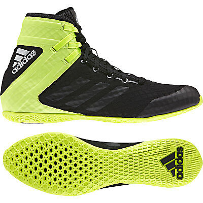 Adidas Speedex 16.1 Boxing Boots Mens Black Yellow Silver Sports Shoes Trainers
