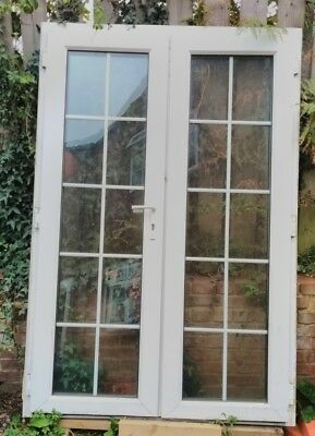 French doors used white upvc 3 ft 8 picclick uk for Double glazed upvc patio doors